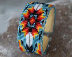 Authentic Native American [Oglala Lakota] Beadwork by NapeMatoBeadwork Beaded Cuff Bracelet, Bead Loom Bracelets, Beaded Bracelet Patterns, Beading Patterns, Native Beadwork, Native American Beadwork, Motif Oriental, Beaded Mirror, Native American Crafts