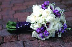 More purple gladiolas bouquet