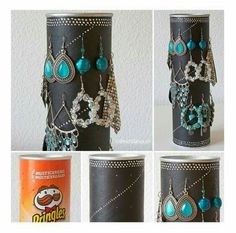 Booth Display Ideas Using Upcycled / Recycled Items Pringles can recycling: Earring display Spring C Pringles Dose, Pringles Can, Jewellery Storage, Jewellery Display, Jewelry Organization, Displays, Diy And Crafts, Arts And Crafts, Earring Display