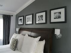 Incridible Black Portray Frames Hang On Best Gray Paint Colors Bedroom Wall Decors Over Mini Wall Mounted White Shade Lamps Between Curved Brown Leather Headboard In Grey Master Bedroom Ideas Gray Painted Walls, Gray Master Bedroom, Bedroom Colors, White Fireplace, Home, Master Bedroom Accents, Contemporary Family Rooms, Accent Wall Bedroom, Home Decor