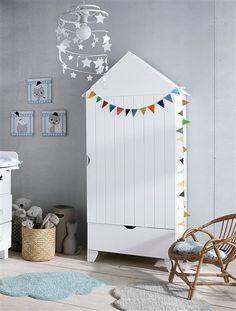 Armoires - Armoire 2 portes chambre bébé OURSON Blanc et marron ...
