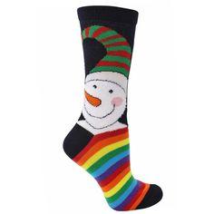 Snowman Print Rainbow Striped Christmas Holiday Womens Socks ($12) ❤ liked on Polyvore featuring intimates, hosiery, socks, black, novelty prints, crew length socks, patterned socks, rainbow socks, acrylic crew socks and long socks