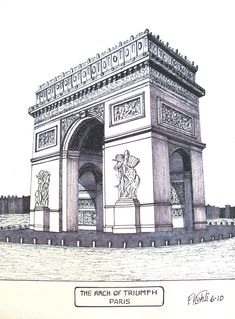 Pen and ink drawing by Frederic Kohli of the famous Arch of Triumph in Paris, France. Prints are available at frederic-kohli. Famous Architecture, Architecture Exam, Architecture Sketchbook, Building Drawing, Famous Buildings, Canvas Art, Canvas Prints, Perspective Drawing, Triomphe