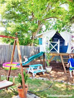 Low-rise cubby house, surrounded by bark/mulch or sand pit. For Western yard, next to driveway.