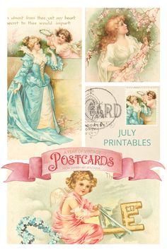 Hello creative friends! Have you joined in with my monthly vintage postcard project? We are now up to the seventh set of free postcards and July's printables are so sweet and angelic. If you are also making the flip tag journal, it's getting quite thick now…. but still room for more yet! One of my readers shared that she downloads the postcards each month to send in the mail to her friends.... isn't that such a lovely idea.     A year of Vintage Postcards If you are new to this year long… Printable Postcards, Free Postcards, Vintage Postcards, And July, Decoupage, Vintage Easter, Floral Crown, Mother And Child, Cherub
