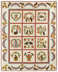 """""""Baltimore Bunnies"""" ~ 64"""" x 79"""" appliqué quilt pattern, $50 