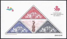 Spain Scott #B194 (31 Mar 1992) Souvenir Sheet of Columbus' ships + label of the statue of Christopher Columbus (Colón, Colombo): Semi-postal stamps similar in design to the1930 triangle stamps showing the Santa María, Niña and Pinta.   The label in the center of the Souvenir Sheet is the Columbus statue in Barcelona, Spain. This S/S commemorates the 500th Anniversary of the Discovery of America.