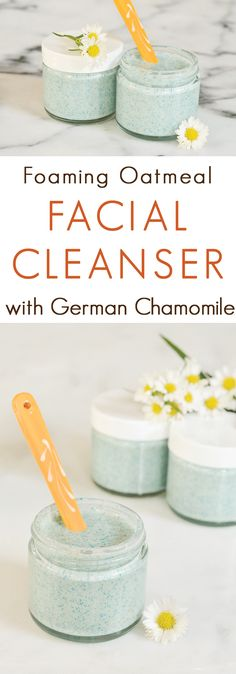 A gentle foaming facial scrub … Oatmeal Chamomile Foaming Facial Cleanser Recipe. A gentle foaming facial scrub made with soothing oat oil and chamomile. Diy Skin Care, Skin Care Tips, Mac Cosmetics, Diy Cosmetics To Sell, Diy Savon, Diy Scrub, Facial Cleansers, Moisturizers, Facial Scrubs