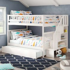 46 Stunning Bunk Bed Design Ideas That Will Be Solutions For Your Small Kids Bedroom Bunk Bed Rooms, Bunk Beds Boys, Full Bunk Beds, Kid Beds, Boys Bedroom Ideas With Bunk Beds, Kids Beds For Boys, Shared Bedrooms, Baby Kids, Bunk Beds Small Room