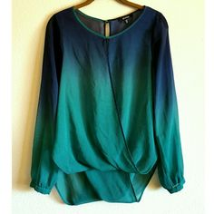 Draped flowy long sleeve blue ombre wrap blouse Long sleeve flowy semi sheer green & blue ombre wrap blouse, size medium. Draped balloon hem, high low hemline, split wrapped front & back, buttoned bishop sleeves, back has a single button closure. Mint condition, never worn. XOXO Tops Blouses