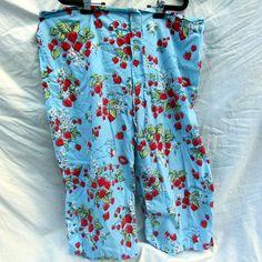 Nick & Nora Blue Strawberry Pajama Capri Sleep Lounge Pants XXL Cotton 2XL…