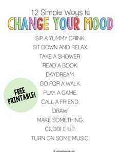 free printable 12 Simple Ways to Change Your Mood