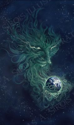 "☆ Spirit of the Earth - ""The Green Man is the embodiment of vegetative life; he is the juiciness of the sap that rises and renews life each spring; he is the ""blood"" of the plant kingdom that sustains all animal life. -Richard Zelley :¦: Artist Douglas A. Sirois ☆"