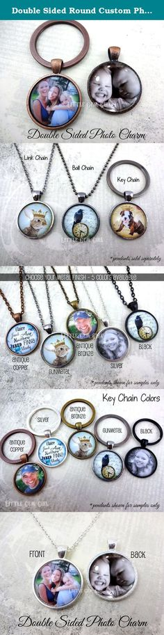 Double Sided Round Custom Photo Necklace or Key Chain Charm - Available in 5 Setting Colors - Personalized Picture Jewelry. ***Please email your photo to littlegemgirl@hotmail.com - see below for further instructions.*** Double-sided Round necklace charm with 2 photos - one on each side! Makes a great gift for mom's and dad's, grandparents, wedding keepsakes, etc. COMPLETELY CUSTOMIZABLE - please read below for important ordering information - if you have any questions, just ask. Please…