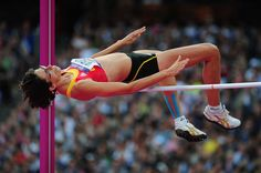 Tia Hellebaut of Belgium competes during the Women's High Jump Final