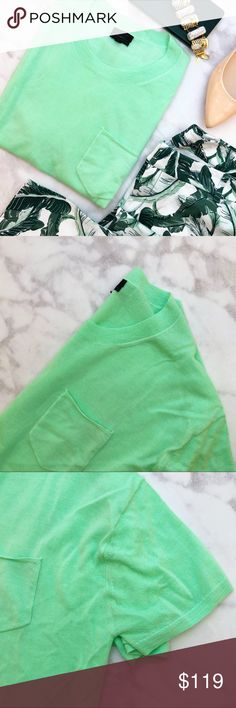 """J. Crew Neon Mint Cashmere Short Sleeve Sweater Details: • Size L • Short sleeves • Chest pocket * Bust: 44.5"""" * Length: 22.75"""" * Fabric content: 100% cashmere • NWT   03031608 J. Crew Sweaters Crew & Scoop Necks"""