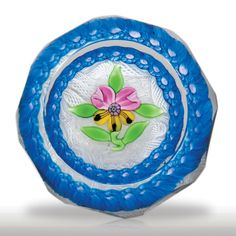 "Perthshire Paperweights 1971 ""Faceted Pansy"" blossom and millefiori garland paperweight.(302) images"