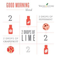 Good Morning diffuser blend: 2 drops grapefruit essential oil, 2 drops lime essential oil, 2 drops peppermint essential oil ~ Click for more diffuser blends.