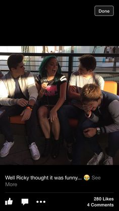 Emery: Wait what did you just say? Liam: Uumm okay *awkward laugh* Ricky:  Can't... Stop... LAUGHING