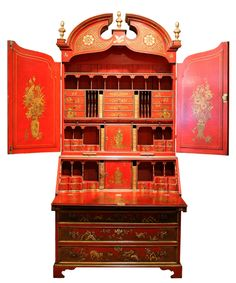 George II style red Japanned secretary cabinet