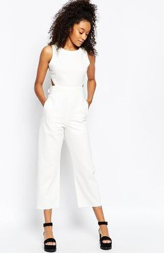 Kendall Jenner wearing ASOS Denim Wide Leg Cut Out Jumpsuit in White