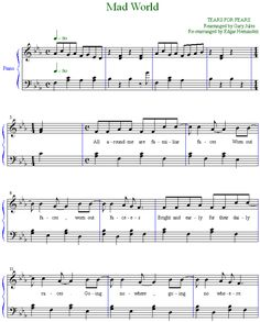 _sheet music_ Gary Jules - Tears For Fears - Mad World Piano Score - Sheet Music - Donnie Darko