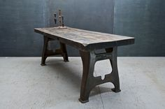 Bier Haus Low Maple Lathe Leg Table : 20th Century Vintage Industrial : Modern Fifty