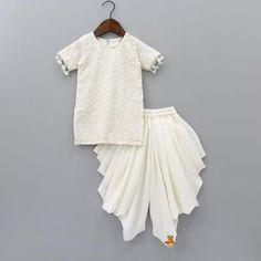 Pre Order: White Chikan Work Kurta With Dhoti Frocks For Babies, Kids Frocks, Frocks For Girls, Dresses Kids Girl, Kids Outfits, Baby Girl Birthday Dress, Baby Girl White Dress, Kids Dress Wear, Kids Gown