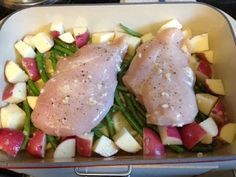 Roast Chicken and Lemon Green Beans ~ a recipe from Real Simple