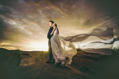 Windy desert wedding portrait - Taken during a very windy real wedding in the Namib desert.