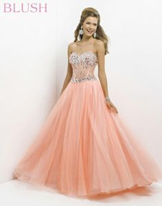 Blush Long Strapless Beaded Gown with Train  Blush prom Thigh ...