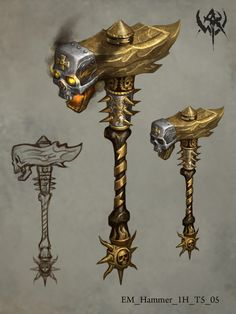 Orcus Two-Handed Mace Anime Weapons, Sci Fi Weapons, Medieval Weapons, Weapon Concept Art, Bone Weapons, Fantasy Sword, Fantasy Armor, Fantasy Weapons, Medieval Fantasy