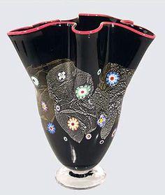 Ken and Ingrid Hanson Art Glass ~ Black Fan Vase ~ Blown glass vase in black with red trim.