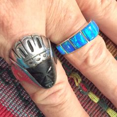 Striking black onyx Aztec set in a Sterling silver crown size 9.5. Man's or woman's ring.