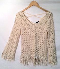 Crochet Open Swirl Fringe Shirt Sz M Beige Bell Sleeve Hippie Boho Medium #Monteau #KnitTop #Casual
