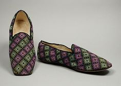 Slippers 1860, American, Made of wool and leather