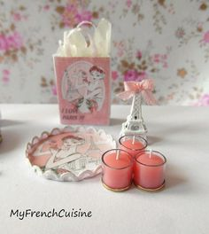 I love Paris - Tray with scented candles Eiffel tower and gift bag - Handmade miniature