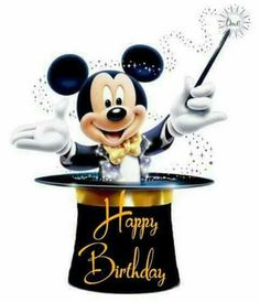 Happy Birthday Gif Images, Happy Birthday Disney, Happy Birthday Greetings Friends, Happy Birthday Wallpaper, Birthday Wishes Funny, Mickey Birthday, Happy Birthday Messages, Mickey Mouse, Birthday Frames