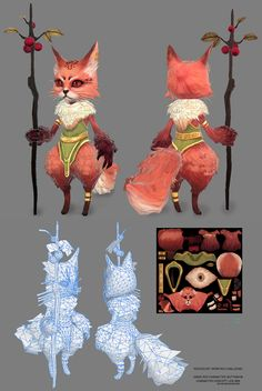 low poly Fox character by butt_sahi