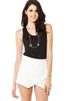 ShopSosie Style : Bent Lines Skort in White