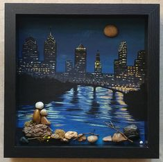 Pebble Art, Rock Art, Pebble Art Couple, overlooking the skyline, unique pebble . Pebble Painting, Pebble Art, Stone Painting, Couple Rock, Couple Art, Pebble Pictures, Stone Pictures, Stone Crafts, Rock Crafts