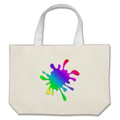 Funny Colorful Art Rainbow Paint Splatter Large Tote Bag