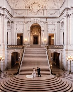 What an awesome place to take wedding photos!!  San Francisco City Hall