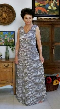 M6074 - light and cool in ITY knit...  http://cocosloft.blogspot.com/2015/07/mccalls-6074-flared-knit-maxi.html
