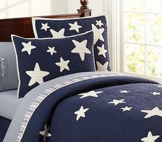 1st Floor / The Cadette Family Staff Child's Bedroom, With View Of Forest / Navy And White Star Quilted Bedding #pbkids