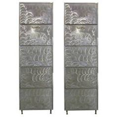 Pair of French Industrial Polished Steel Bronze Mounted Cabinets