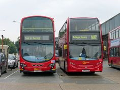 Two different styles of buses - Route N89 (right) Enviro 400; (left) Wright Eclipse Gemini