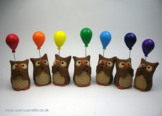 Little Owls with Rainbow Balloons