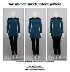 Star Trek Sewing Pattern - TNG Medical Smock - The Next Generation Starfleet Uniform (Women's) Star Trek Theme, Star Wars, Trio Halloween Costumes, Cool Costumes, Cosplay Outfits, Cosplay Costumes, Star Trek Cosplay, Star Trek Images, Medical Uniforms