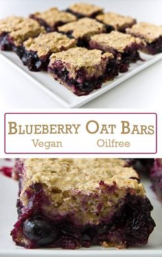 These delicious, vegan Blueberry Oat Bars are full of the flavor of fresh blueberries but contain no refined flour, oil, or white sugar.